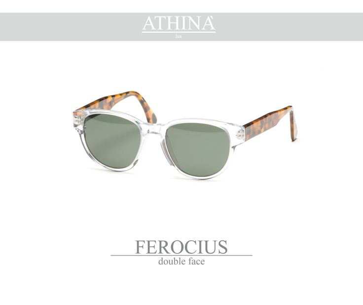 Mod. FER0102S01 Sunglasses with a rounded shape, made with a cristal transparent frontal and classic havana temples, totally in cellulose acetate. Provided with standard grey-green lenses.