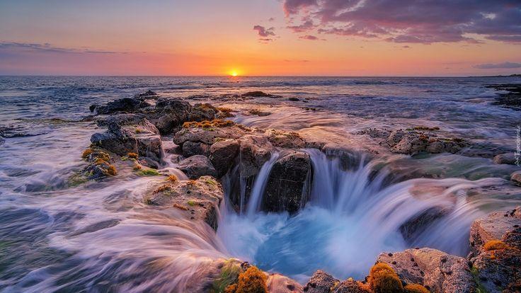 Hawaje, Morze, Wschód słońca, Skały, Fale