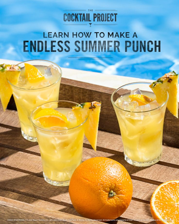 Keep summer going all Labor Day Weekend long with this Endless Summer Punch. Tropical flavors of pineapple, coconut and robust rum are topped off with tangy orange juice and lemonade for a sweet, fruity drink that will bring you right back to the beach. Discover how to make it at TheCocktailProject.com.