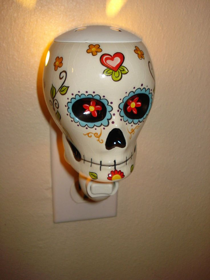 Day Of The Dead Dia de Los Muertos Sugar Skull Night Light Scent Warmer Wall in Collectibles | eBay