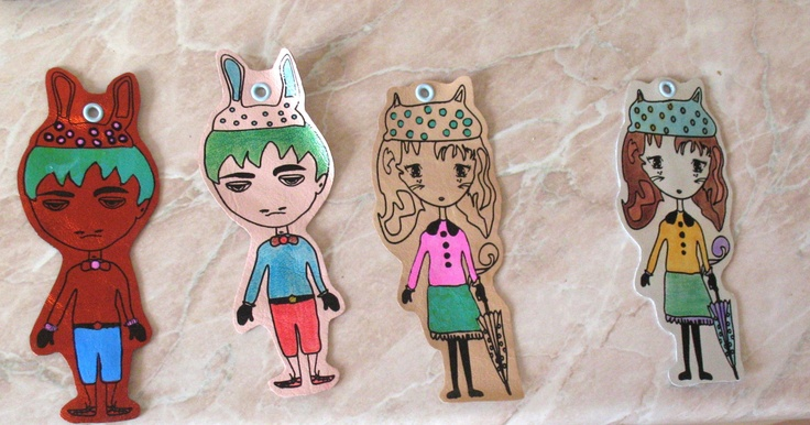 leather bookmarks: Poppins Cat Girl & Ex-Beatles Guy