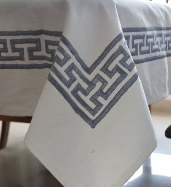 Table Cloth White Cotton Table Linen Gray Greek Key by AmoreBeaute