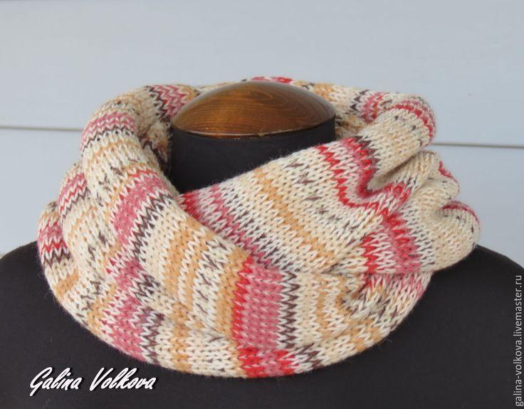 Купить Вязаный шарф хомут снуд Розовый микс - разноцветный, шарф, мужской шарф