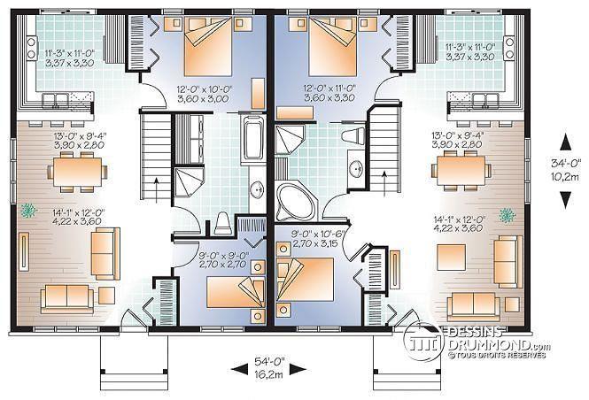 Rez-de-chaussée Jumelé champêtre, 2 chambres, intérieur convivial, 2 options de salle de bain - Ambrose 2