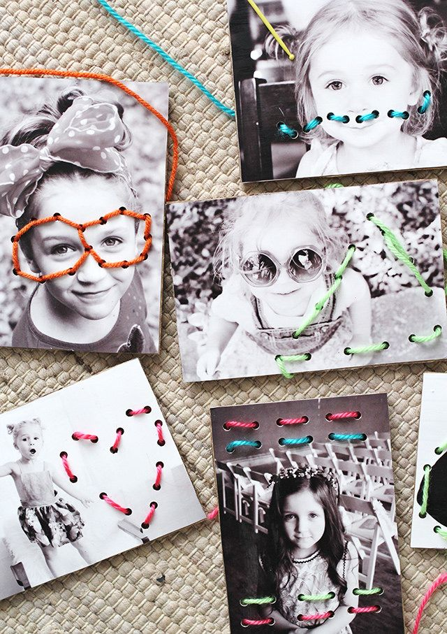 Turn favorite photos into a fun set of DIY lacing cards.