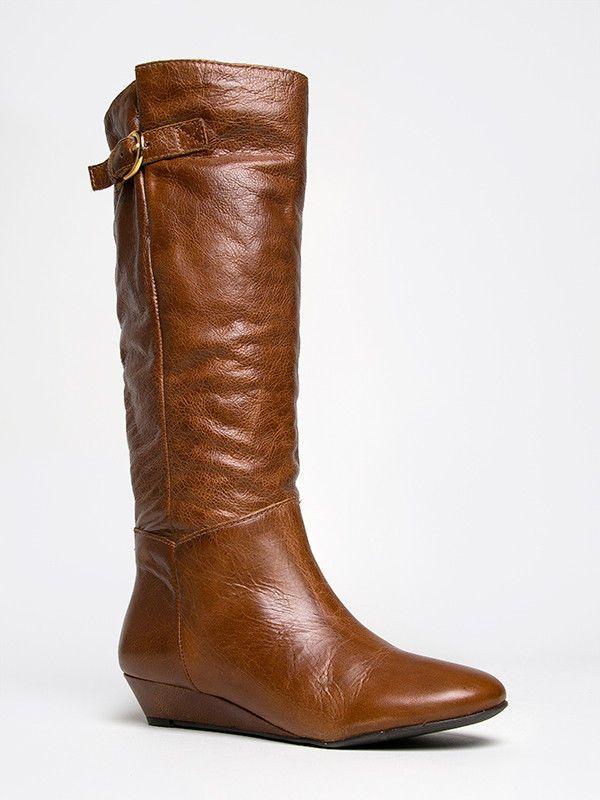 New Steven Steve Madden INTYCE Women Wedge Boot Riding Knee High Cognac Leather #SteveMadden #FashionKneeHigh