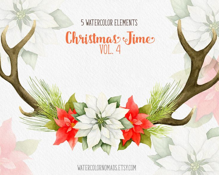 Christmas clipart, winter clipart, deer antlers, antlers clipart, poinsettia, pine, clip art, holiday clipart, watercolor, instant download from WatercolorNomads on Etsy Studio