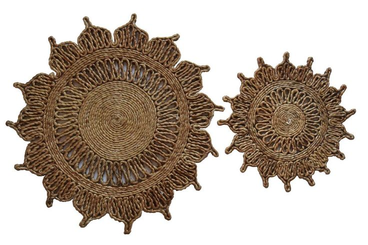 Toockies Natural Jute Flower Trivets-Set of 2