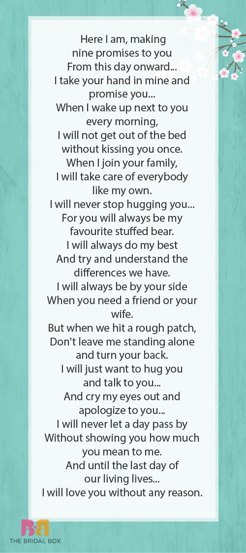 Probably my vows to Josh on our wedding it's like who ever read my mind