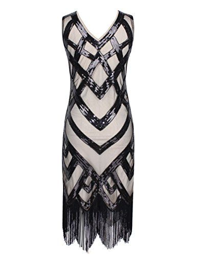 British Women 1920s Vintage Beads Sequin Crisscross Fringe Hem Flapper Dress #British #UK #PlusSize #FashionBug #Dress #Rockabilly #Retro #PinUp #Vintage #1920