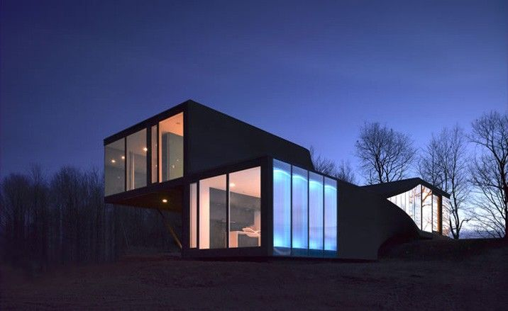 Nightime photo of the Mobius House
