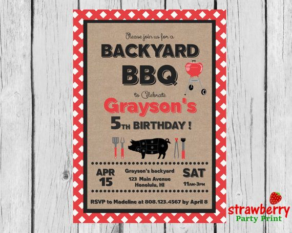 BBQ Birthday Invitation, Western Southern Kraft Barbeque Party Invite, Cookout Backyard BBQ, Barbecue Grill Party, Digital Printable