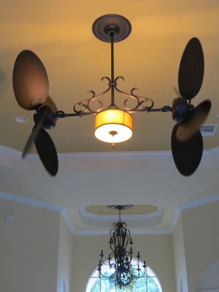 Twin Star Dual Ceiling Fan With Silk Shade Light Kit Lit