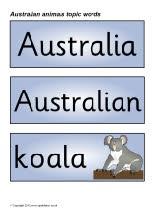 Australian animals topic word cards (SB2331) - SparkleBox