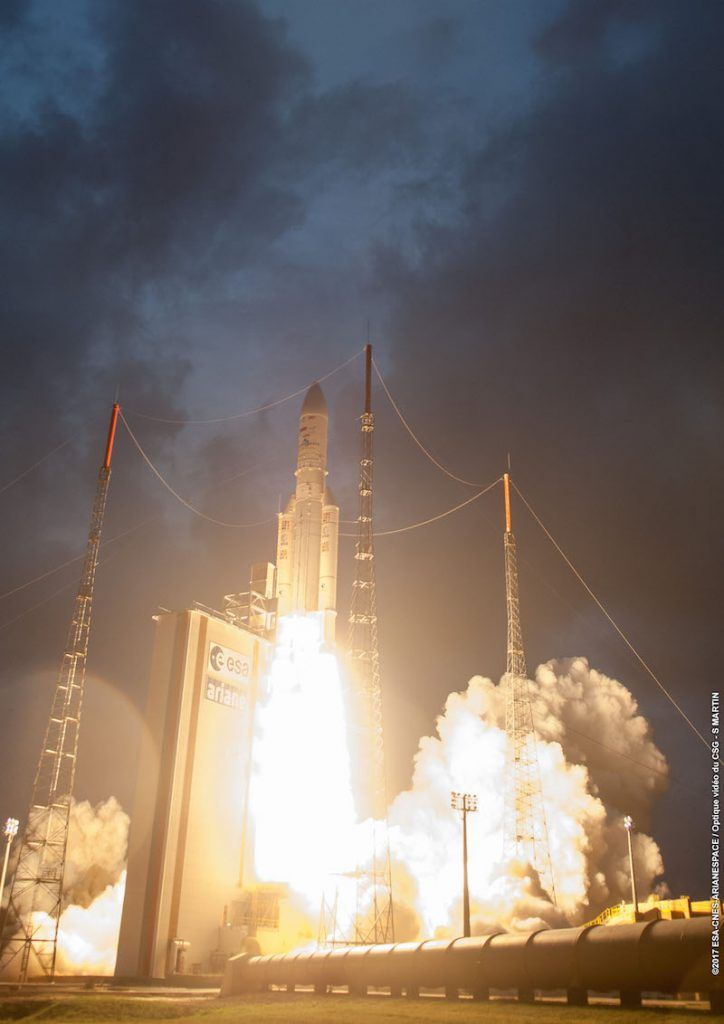 Arianespace conducted its first Ariane 5 launch of the year on Tuesday. The workhorse lofted the SKY Brasil-1 and Telkom-3S satellites from European Spaceport in Kourou, on a ride to a geostationary transfer orbit. The launch occurred at the opening of the launch window at 21:39 UTC.