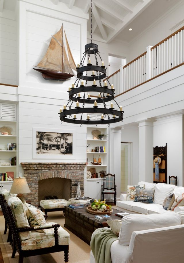 Two Story Living Room Love The Light The Fireplace Just Not The Nautical S