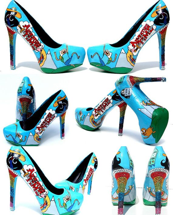 Hey, I found this really awesome Etsy listing at https://www.etsy.com/listing/161616744/adventure-time-heels-hand-painted-with