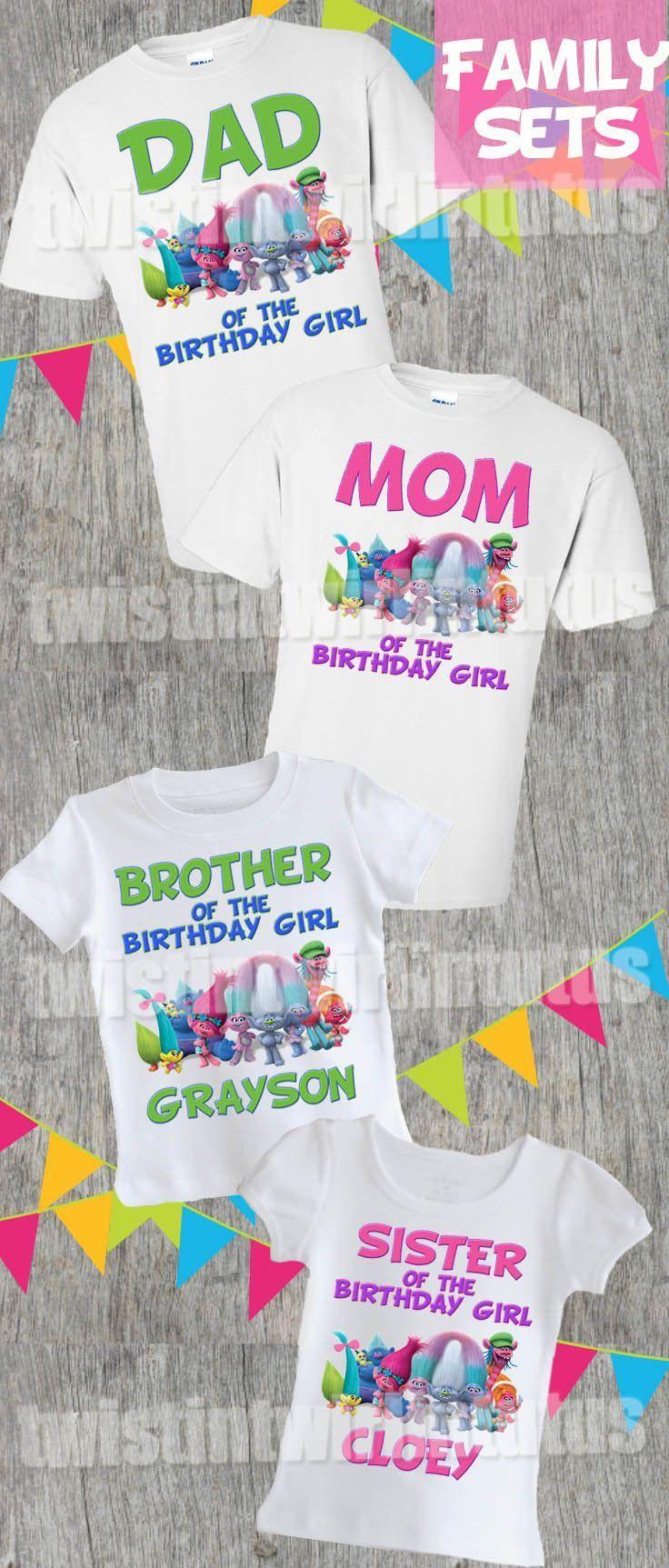 Trolls Birthday Party Ideas   Trolls Birthday Shirt   Trolls Family Shirt Set   Twistin Twirlin Tutus   #trollsbirthday http://www.twistintwirlintutus.com/products/troll-birthday-shirt-family-set