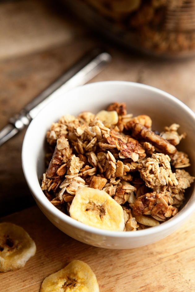Banana Bread Granola is great with cold milk or yogurt. Also delicious over ice cream!