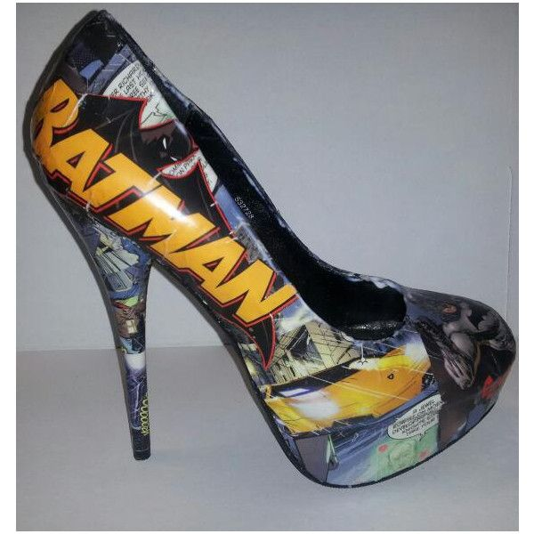 Decoupage Batman Heels ($70) ❤ liked on Polyvore