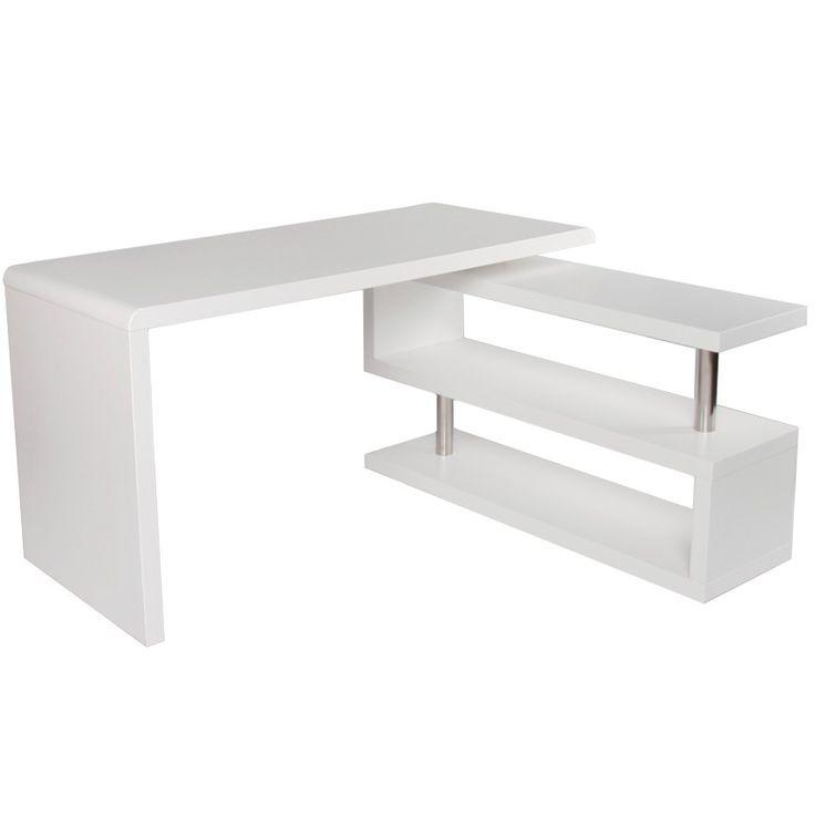Desk & Bookshelf - Matte White