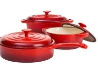 Hampton & Mason Red Cast Iron Cookware