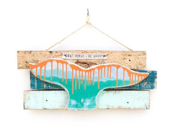 Beach Decor Whale Fluke Beach Sign Reclaimed Wood Beach Baby
