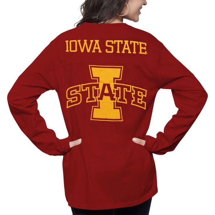 Iowa State Cyclones Pressbox Women's Fight Song The Big Shirt Oversized Long Sleeve T-Shirt - Cardinal