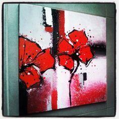 tableau peinture acrylique abstrait fleurs coquelicot fleurs acrylique tableau acrylique sur toile coquelicot magique