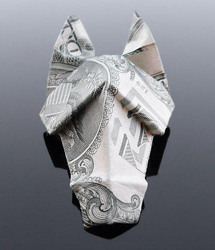 Dollar Bill Origami Horse Head by craigfoldsfives