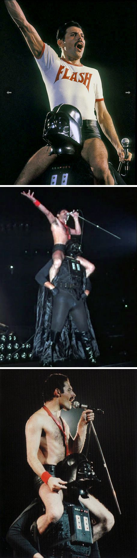 August 10, 1980, Houston, TX: On Queen's tour to promote their album The Game, Freddie Mercury closes the show with Darth Vader, photos by Tom Callins.
