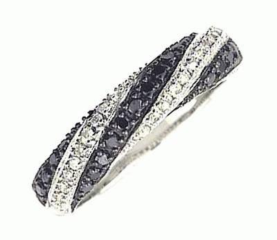 Black and White Diamond Ring in 18 Carat White Gold