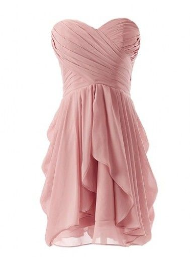 Best-selling Sweetheart A-line Short Ruffle Blush Pink Bridesmaid Dresses CHBD-7221