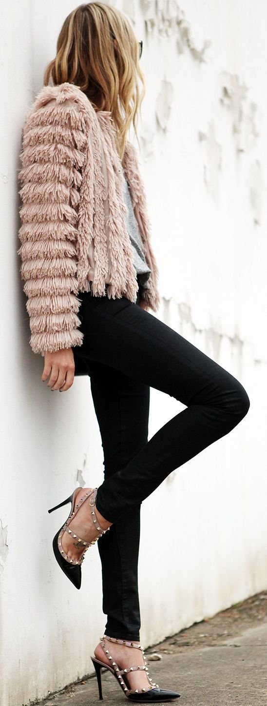 Fashion Jackson Fluffy Jacket In Pink Fall Street Style Inspo