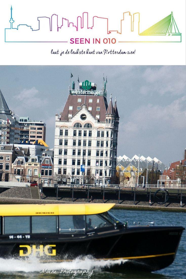 """Watertaxi met 'Het Witte Huis' en """"de Potlood"""" Blaaktoren op de achtergrond. #Rotterdam #Blaaktoren #potlood #Blaak #Watertaxi #Seenin010"""