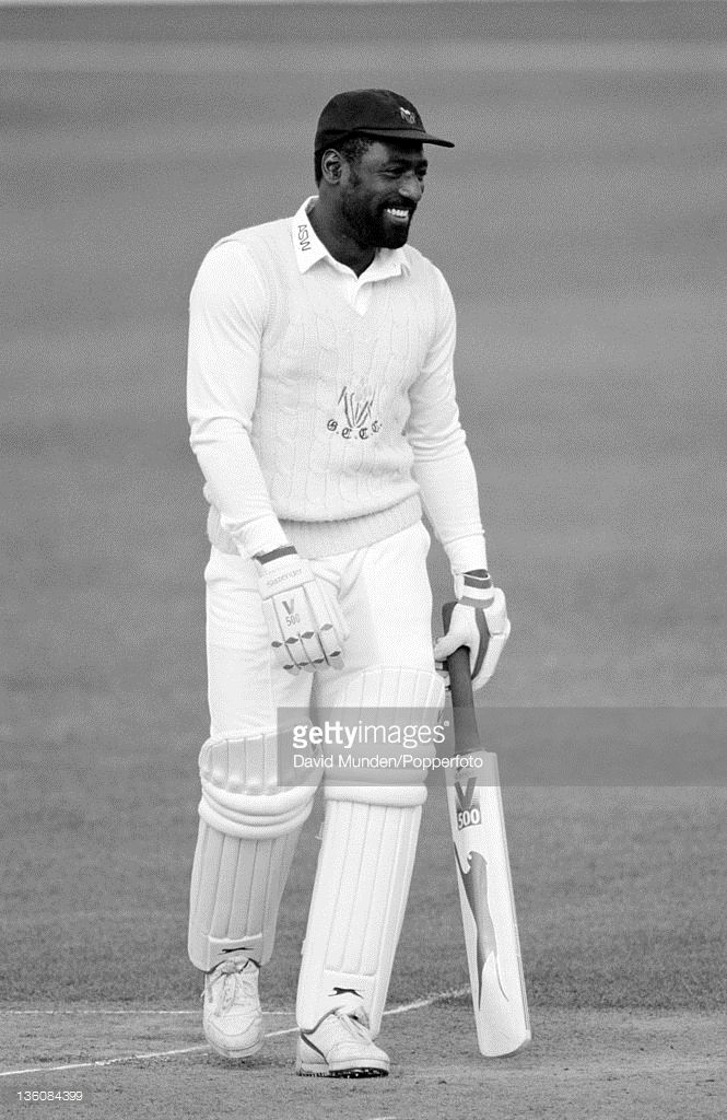 Viv Richards batting for Glamorgan during their Benson & Hedges Cup quarter-final against Worcestershire at New Road in Worcester, 30th May 1990. Worcestershire won by seven wickets.