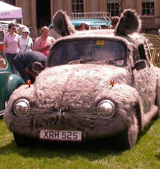 VW bug converted into a mouse car. I think this is wrong to do to a vw bug!