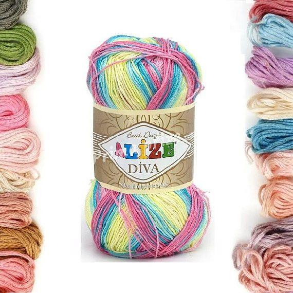 Alize Diva Batik, knitting yarn, crochet yarn, soft yarn, acrylic yarn, summer yarn, microfiber yarn, lace yarn, hypoallergenic yarn by TURKISHYARNSS on Etsy