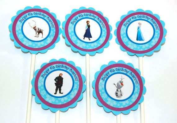 12 Personalized Frozen Themed Cupcake Toppers by ScrapsToRemember