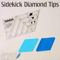 Sidekick Diamond Tips | Jaybird Quilts. Tips on how to cut diamonds with the Sidekick Ruler. Jaybird Quilts Free Tutorial. #SidekickRuler #JaybirdQuilts #FreeTutorial