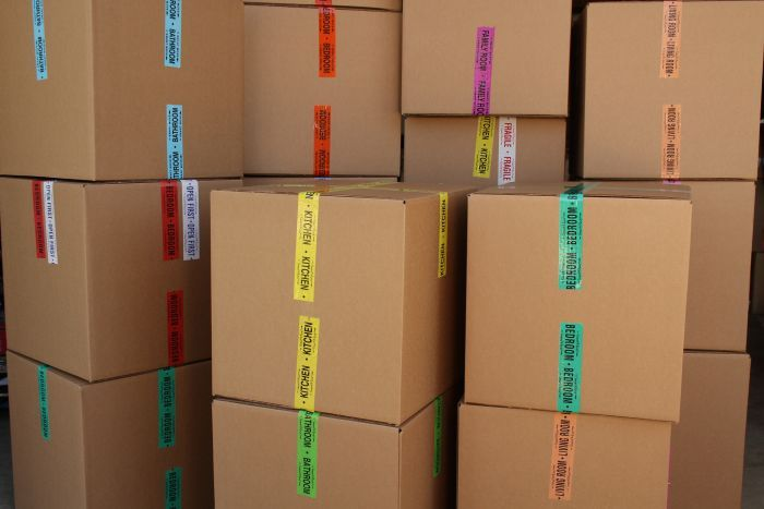 Easy Tape Labeling System For Moving Color Coordinate Rooms With Color Coordinated Packing Tape Moving Supplies Packing Tape Moving Labels