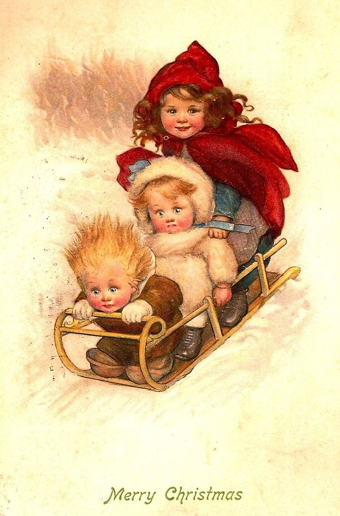 """Merry Christmas"" ~ Children on a Toboggan ~ Vintage Postcard Illustration by Susan Beatrice Pearse ....                                                                                                                                                      More"