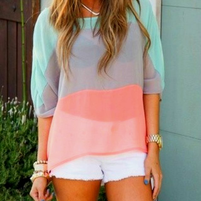 : Colors Combos, Cute Tops, White Shorts, Blouse, Spring Colors, Pastel Colour, Outfit, Pastel Colors, Colors Blocks