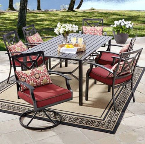 7 Pc Outdoor Dining Set Red Waterproof Cusions Swivel Stationary Chair And Table #BHGDealsMarket