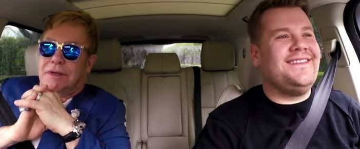 Elton John sings 'Your Song' and 'Tiny Dancer' with James Corden for latest Carpool Karaoke - TheCelebrityCafe.com - Elton John is the latest to partake in James Corden's popular Carpool Karaoke segment, following Coldplay's Chris Martin's segment during which he hitchhiked a ride to the Super Bowl to