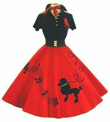 Poodle skirts outfit in red.
