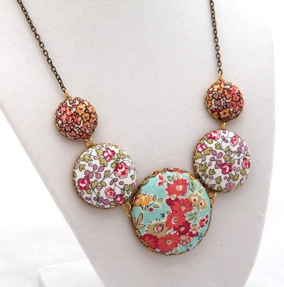 Liberty fabric button necklace Spring by DaintyBloomsBoutique, on Etsy