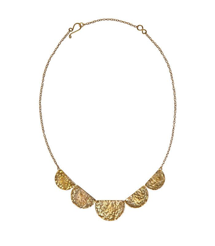 """Purpose Jewelry - Stella Necklace in Brass. Handmade by women saved from sex trafficking in Mumbai, India. Colour/Materials: Gold 20"""" long chain and hammered metal half moon drops. Wear with matching Stella Earrings."""