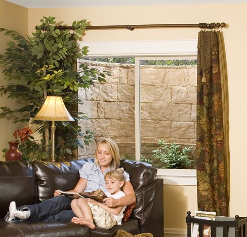 Lovely Curtains for Basement Window Wells