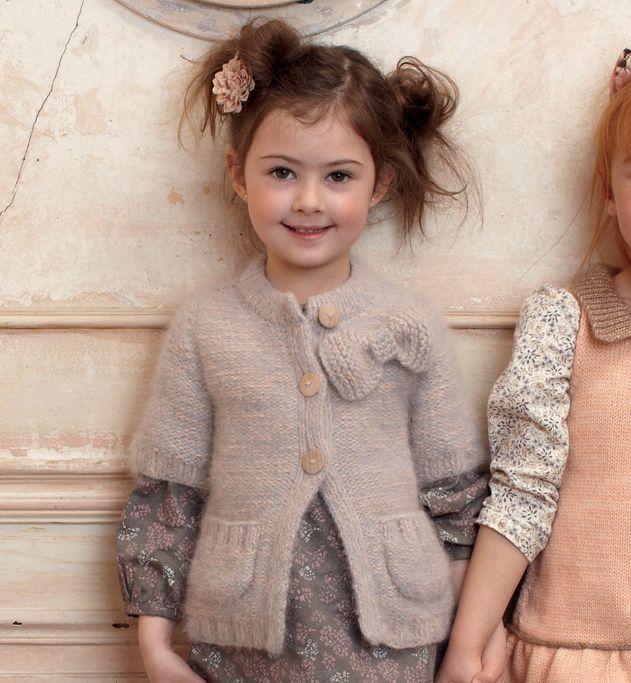 Modèle gilet à poches fille - Modèles tricot enfant - Phildar